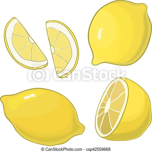 Lemons, four views. Fresh, natural: whole, half, slice, wedge. - csp42559668