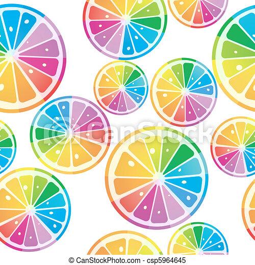 lemons in rainbow colors - csp5964645