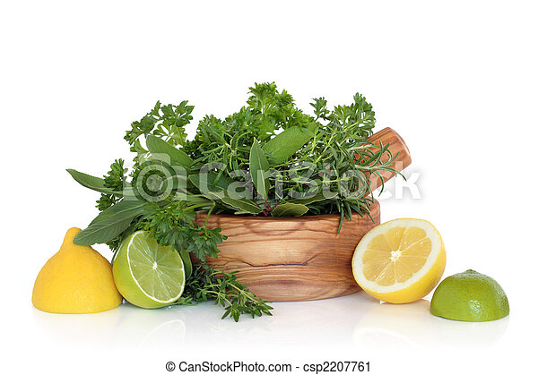 Lemons, Limes and Herb Leaves - csp2207761
