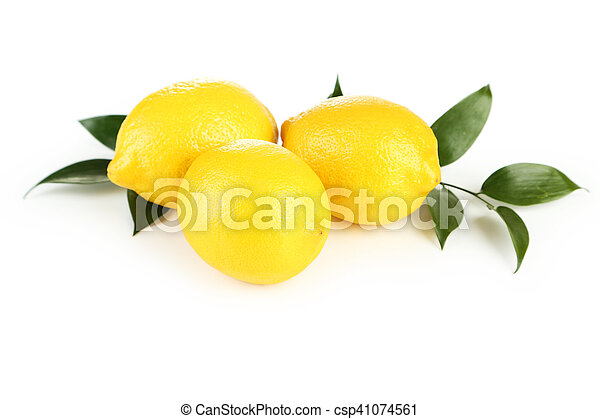 Lemons with leaf isolated on white - csp41074561