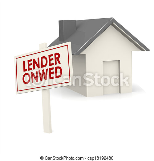 Lender owned banner with house - csp18192480