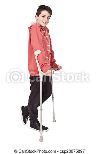 length child with crutches on white background - csp28075897
