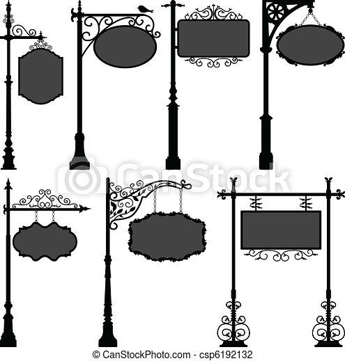 lengyel, utca, signage, keret, aláír - csp6192132