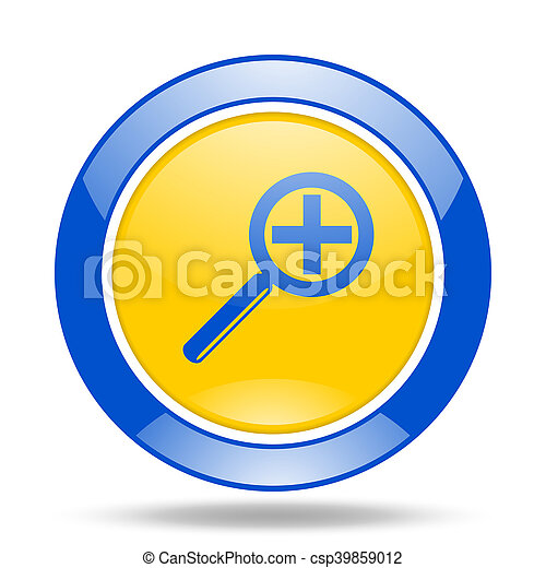 lens blue and yellow web glossy round icon - csp39859012