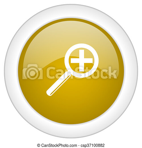 lens icon, golden round glossy button, web and mobile app design illustration - csp37100882