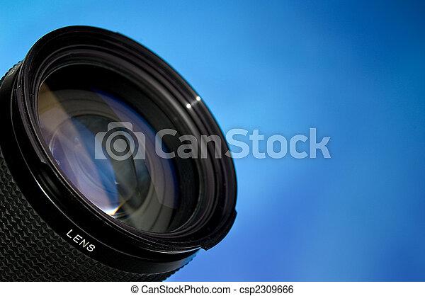 lente, blu, fotografia, sopra - csp2309666