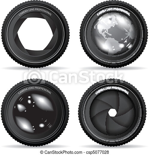 lente, câmera, vetorial, ilustração - csp5077028