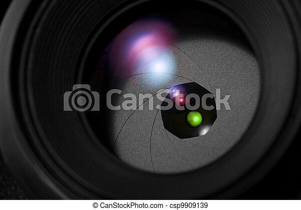 lente, cierre, cámara, arriba - csp9909139