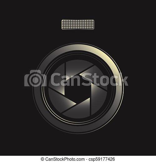 lente, fotógrafo, símbolo - csp59177426