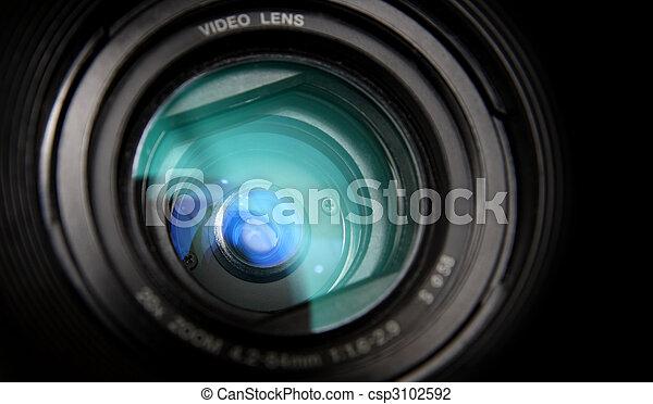 lente, primo piano, macchina fotografica, video - csp3102592