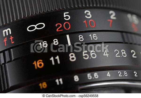 lente, primo piano, macchina fotografica - csp56249558