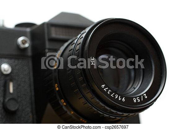 lente, primo piano, macchina fotografica, nero, slr - csp2657697