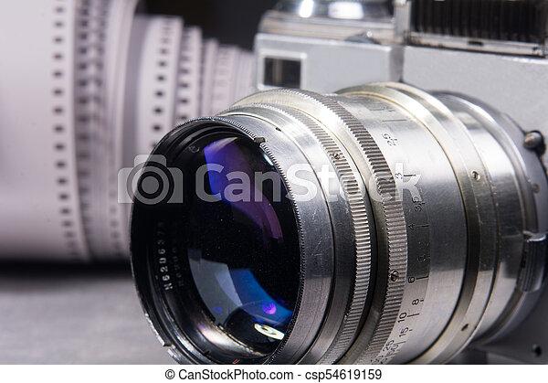 lente, primo piano, vecchio, macchina fotografica. - csp54619159