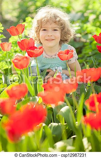 lente, tuin, kind - csp12987231