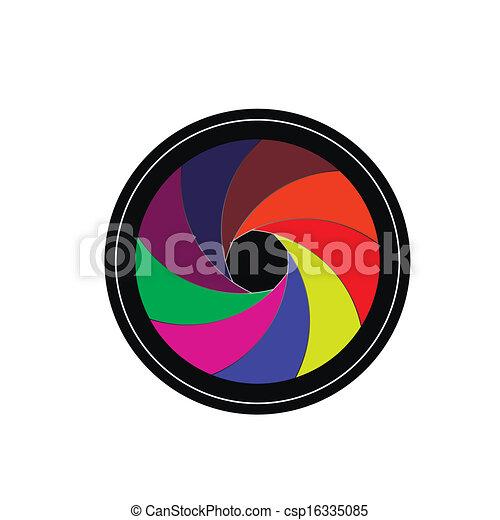 lente, veneziana, câmera - csp16335085