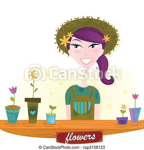 lente, vrouw, bloemen, tuin - csp3158123