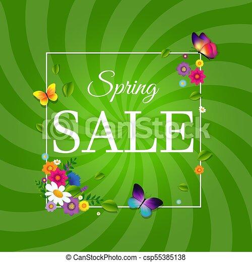lente, zonnestraal, verkoopaffiche - csp55385138