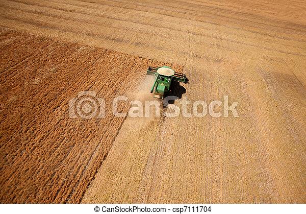 Lentil Harvest Aerial - csp7111704