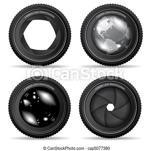 lentille, appareil photo, vecteur, illustration - csp5077380