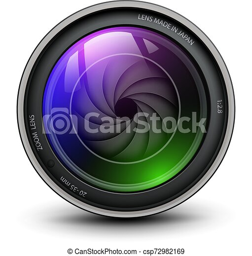 lentille, illustration., photo, intérieur, volet, vecteur, appareil photo - csp72982169