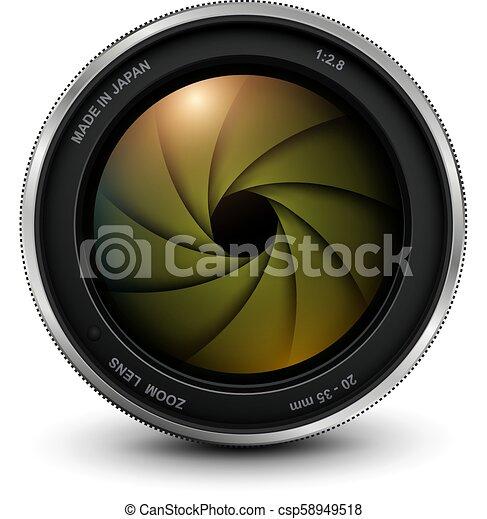 lentille, photo, volet, appareil photo - csp58949518
