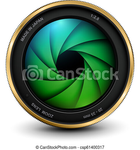 lentille, photo, volet, appareil photo - csp61400317