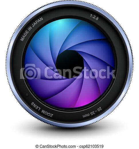 lentille, photo, volet, appareil photo - csp62103519