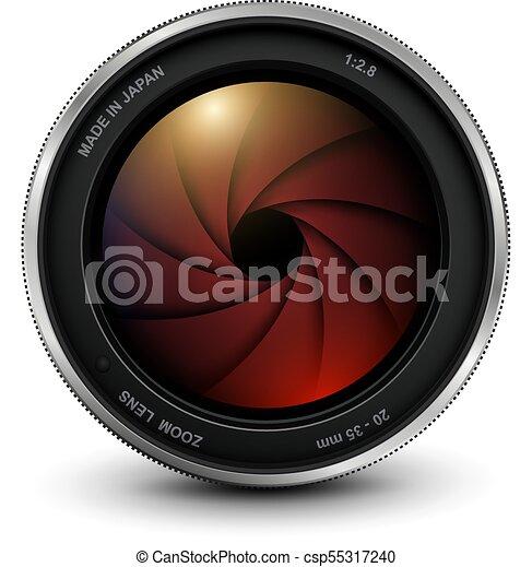 lentille, photo, volet, appareil photo - csp55317240