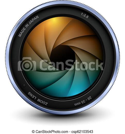 lentille, photo, volet, appareil photo - csp62103543