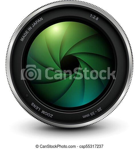 lentille, photo, volet, appareil photo - csp55317237