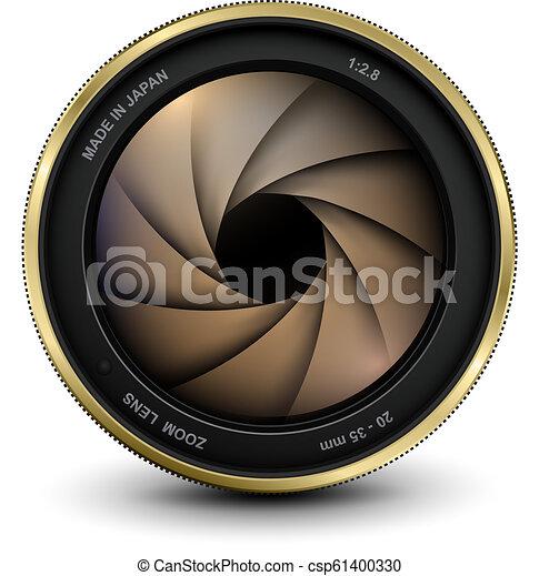 lentille, photo, volet, appareil photo - csp61400330