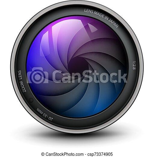 lentille, vecteur, intérieur, illustration., appareil photo, photo, volet - csp73374905