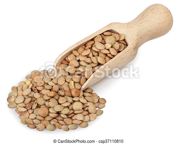 lentils in a wooden scoop isolated on white - csp37110810