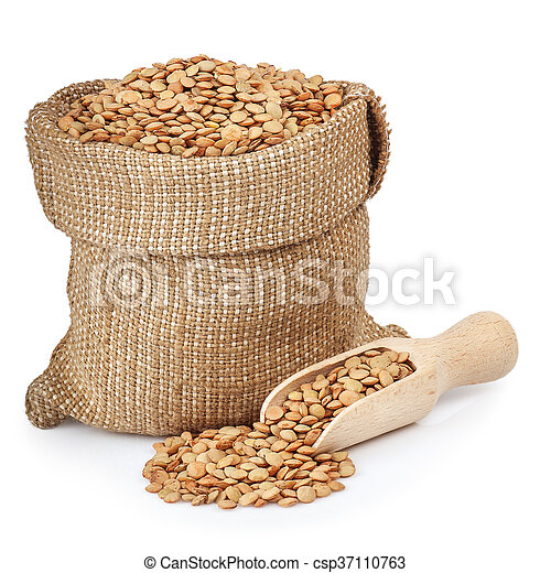 lentils in bag isolated on white background - csp37110763