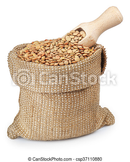 lentils in bag with wooden scoop isolated on white background - csp37110880