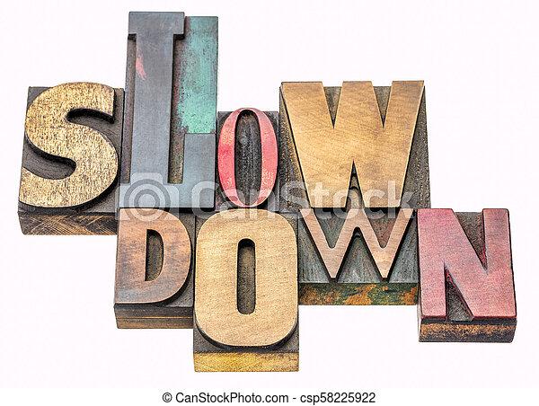 lento, palavra, abstratos, baixo, madeira, tipo - csp58225922