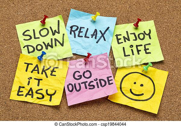 lento, relaxe, aquilo, tomar, fácil, baixo - csp19844044