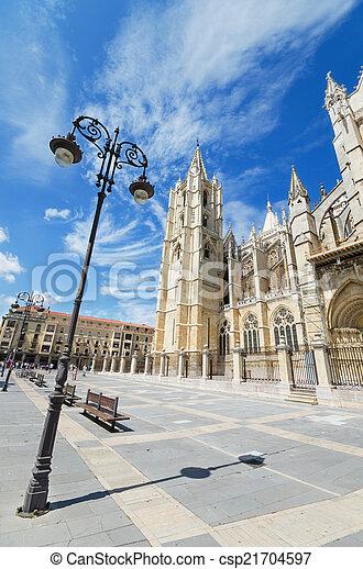 Leon Cathedral, Castilla y Leon, Spain. - csp21704597