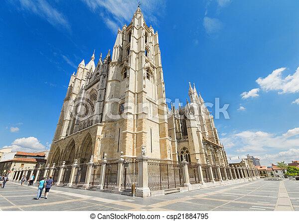 Leon Cathedral, Castilla y Leon, Spain. - csp21884795