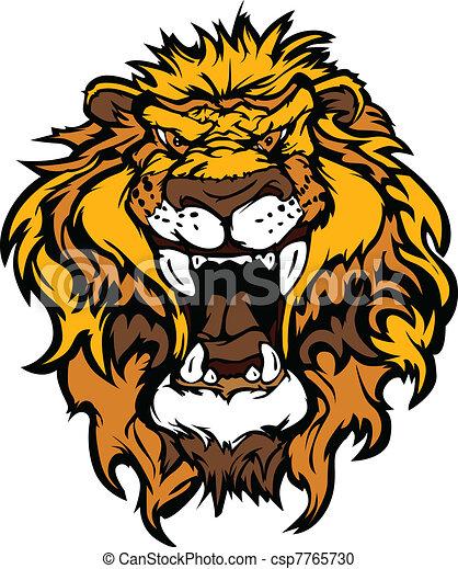 leone, illustrati, testa, cartone animato, mascotte - csp7765730