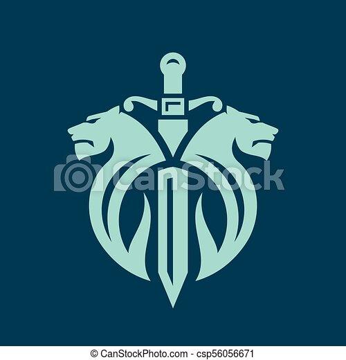 Dos leones y una señal de espada - csp56056671
