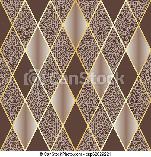 Leopard Beige Luxury And Geometric Seamless Pattern Vector Leopard Seamless Pattern With Golden Geometric Diagonal Lines Canstock