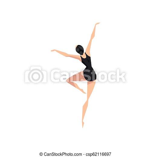 leotard, ballerina, ballare ballet, ballo classico, giovane, illustrazione, vettore, sfondo nero, professionale, bianco, classe - csp62116697