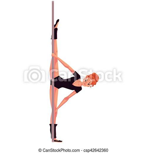 leotard, donna, ballo, giovane, mano, polo, nero, stare in piedi - csp42642360