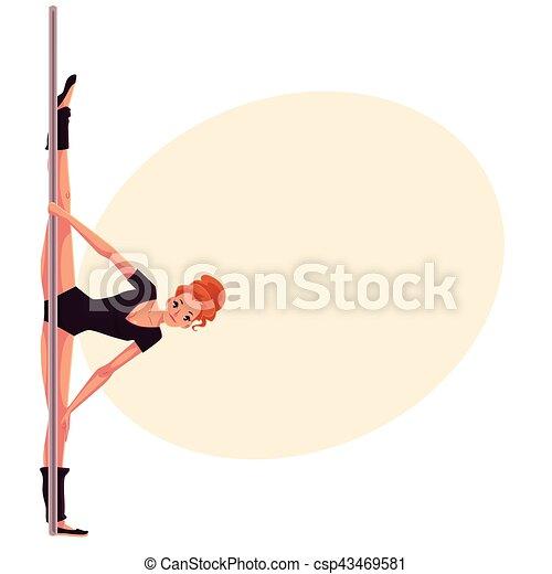 leotard, donna, ballo, giovane, mano, polo, nero, stare in piedi - csp43469581