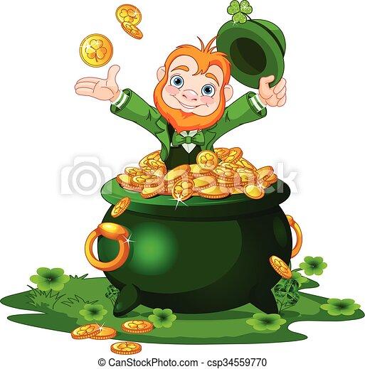 Leprechaun and Pot of gold - csp34559770