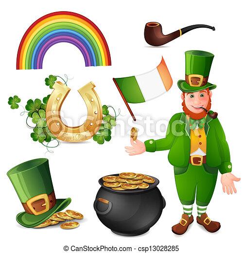 Leprechaun and Saint Patrick's Day  - csp13028285