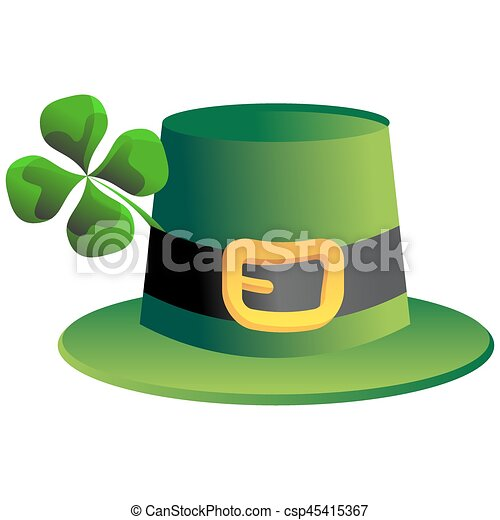 Leprechaun Four Leaf Clover Hat - csp45415367