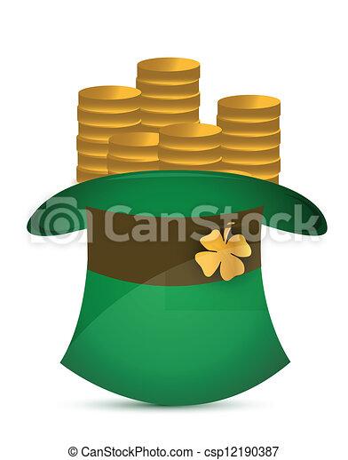 Leprechaun hat filled with gold coins - csp12190387