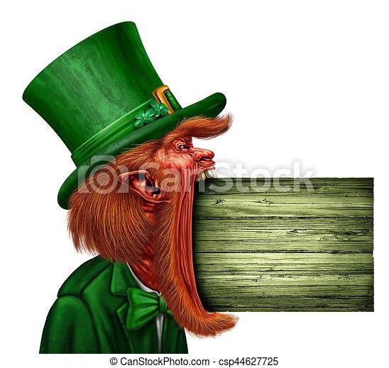 Leprechaun Saint Patrick Sign - csp44627725